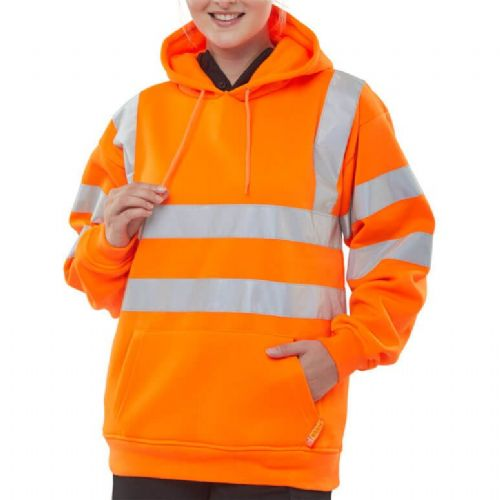 BSeen Hi Vis Orange Hoody Sweatshirt